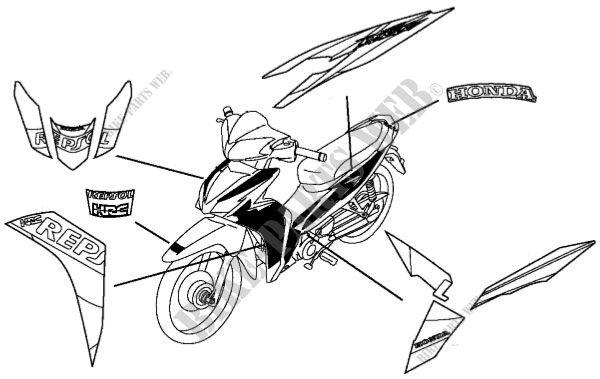 afp110mcre ja29c honda motorcycle wave dash 110 r  repsol