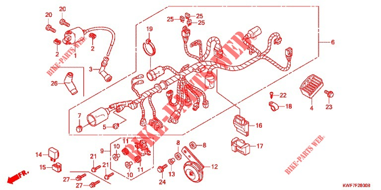 Wire Harness  Battery For Honda Cbf 125 2010   Honda