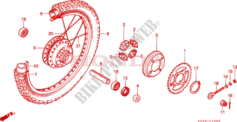 Rear Wheel  1  For Honda Ct 110 Trail Ub 1988   Honda