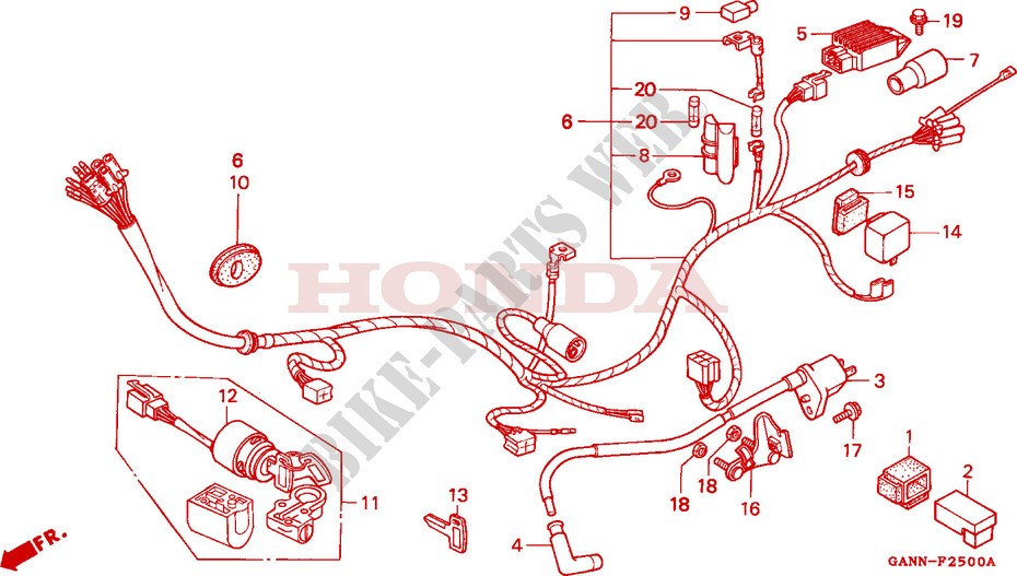 wire harness frame st70r 1994 dax 70 moto honda motorcycle honda