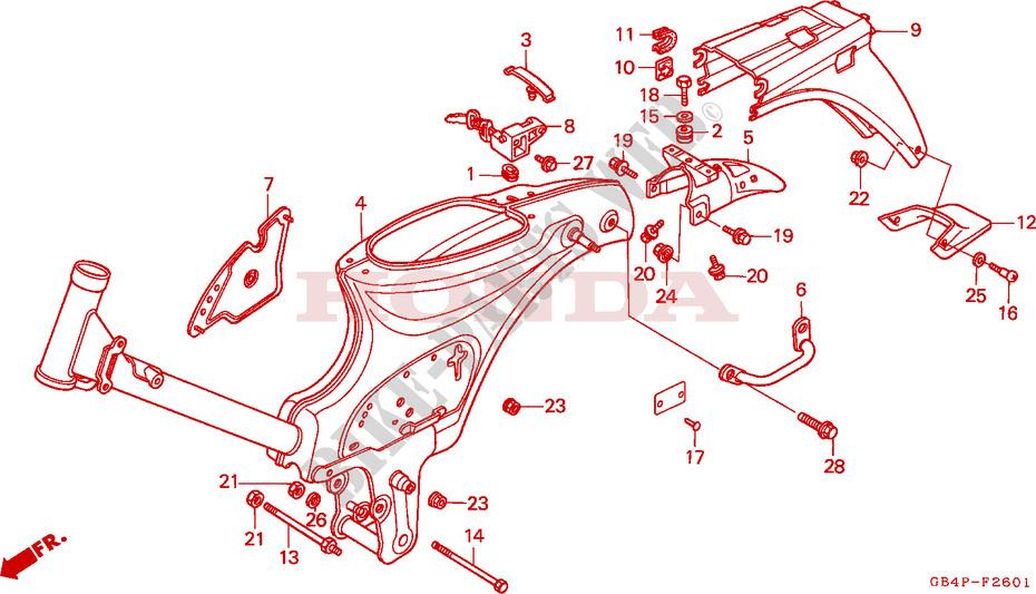 FRAME BODY C50SP C50ST Frame C50SP 1993 C50 50 MOTO Honda motorcycle ...
