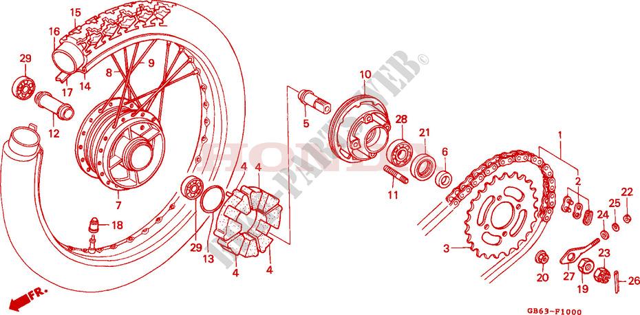 Rear Wheel For Honda C 90 Square Shape Winker 1992   Honda