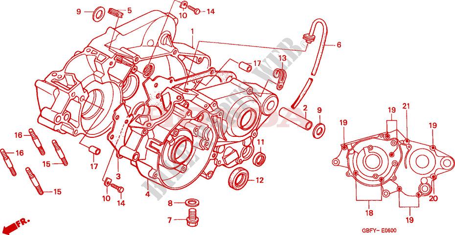CRANKCASE for Honda CR 80 R 2001 # HONDA Motorcycles & ATVS Genuine Spare  Parts CatalogBike Parts-Honda