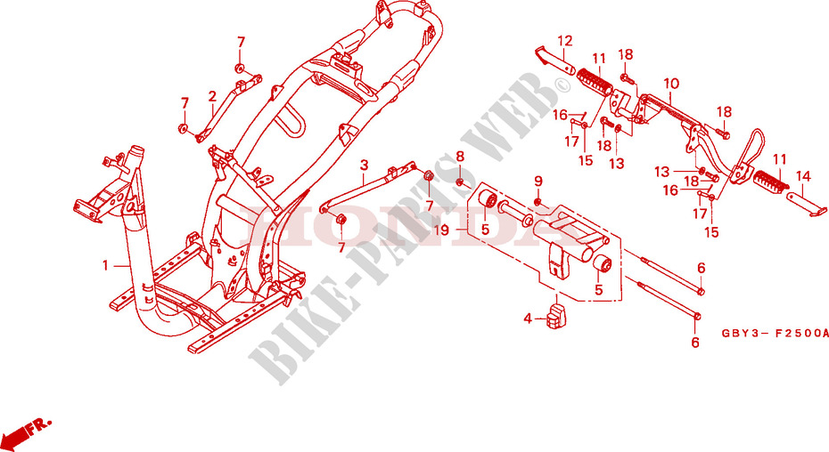 FRAME BODY Frame SH50T 1996 SCOOPY 50 SCOOTER Honda motorcycle ...