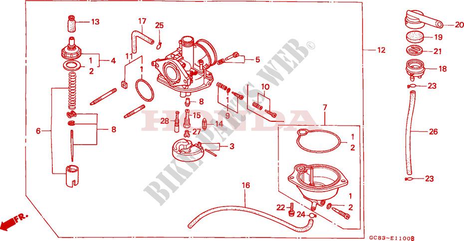 Carburetor For Honda Lead 50 1989   Honda Motorcycles
