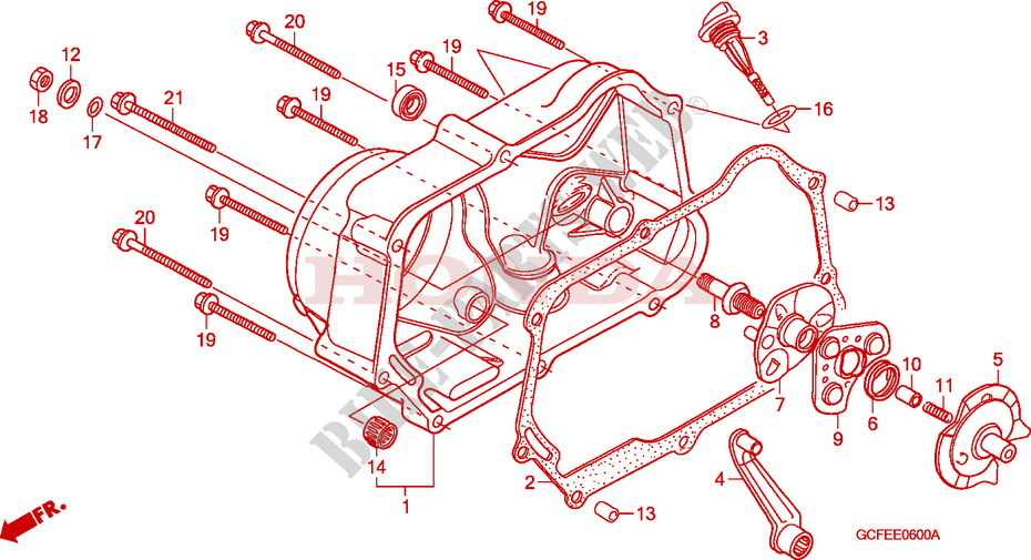 Right Crankcase Cover For Honda Crf 70 2006   Honda Motorcycles  U0026 Atvs Genuine Spare Parts Catalog