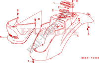 BODY COVER Honda motorcycle microfiche diagram SGX50X 1999 SKY 50 50TH