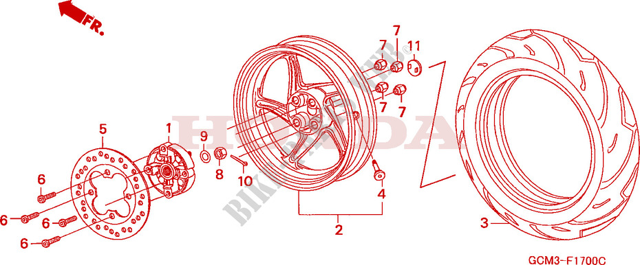 Admirable Rear Wheel 1 Frame Szx50Sx 1999 X8R 50 Scooter Honda Motorcycle Wiring 101 Cominwise Assnl