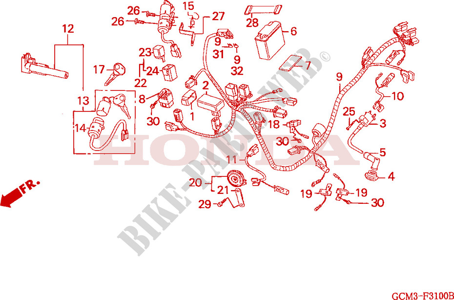 honda scooter 50 x8r 1999 szx50sx frame wire harness/battery