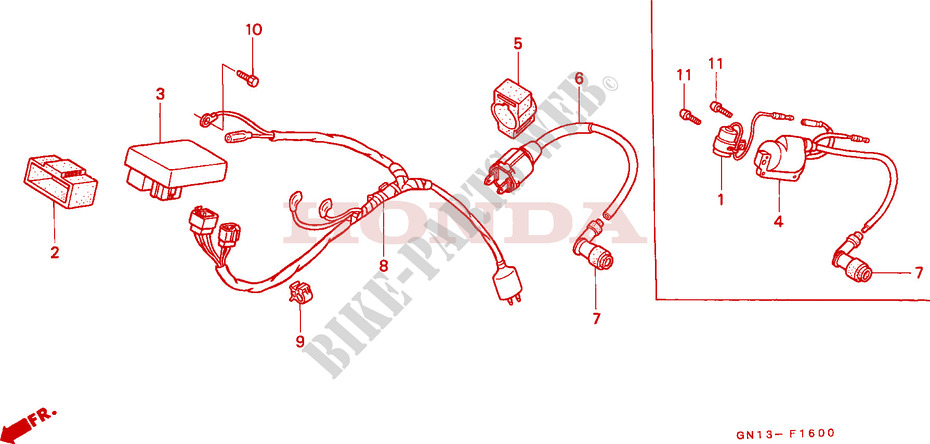 wire harness ignition coil for honda xr 80 1987 honda. Black Bedroom Furniture Sets. Home Design Ideas