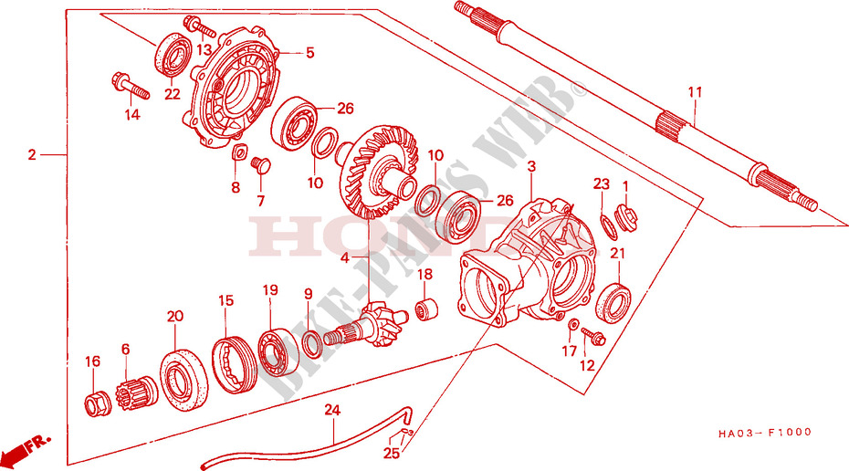FINAL DRIVEN GEAR/ REAR AXLE SHAFT for Honda ATC 250 BIG RED