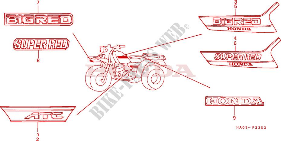 STRIPE/EMBLEM (4) for Honda ATC 250 ES 1988 # HONDA