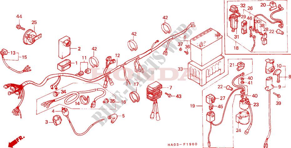 honda atv 250 atc 1987 atc250esh_a frame wire harness/battery