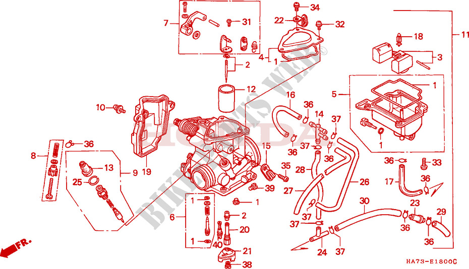 honda atv 350 fourtrax 1993 trx350p engine carburetor