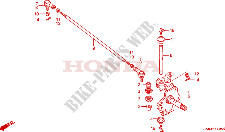 knuckle tie rod frame trx250f 1985 fourtrax 250 atv honda motorcycle