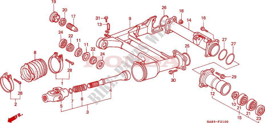 rear fork propeller shaft frame trx250g 1986 fourtrax 250 atv hondahonda atv 250 fourtrax 1986 trx250g frame rear fork propeller shaft