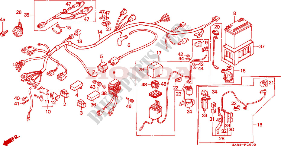 Wire Harness  Battery For Honda Trx Fourtrax 250 Cm 1985   Honda Motorcycles  U0026 Atvs Genuine Spare