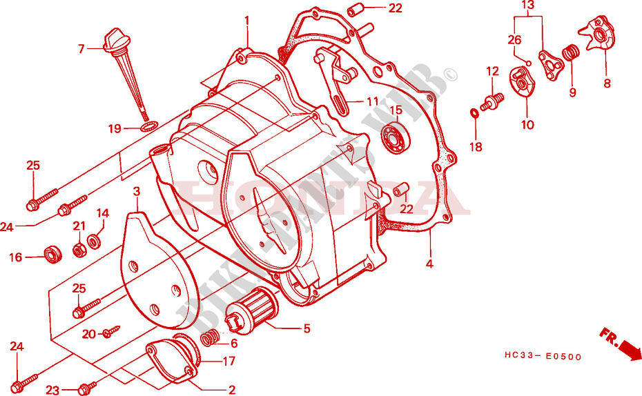 honda atv 125 fourtrax 1988 trx125j engine right crankcase cover