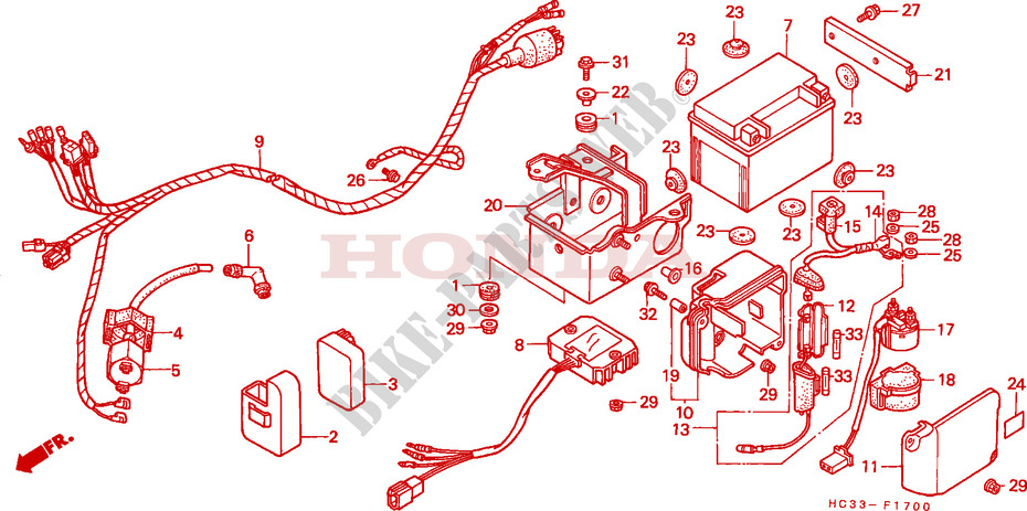 honda atv 125 fourtrax 1987 trx125h frame wire harness