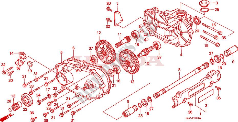 honda atv 300 fourtrax 1989 trx300fwk engine front driveshaft (trx300fw)