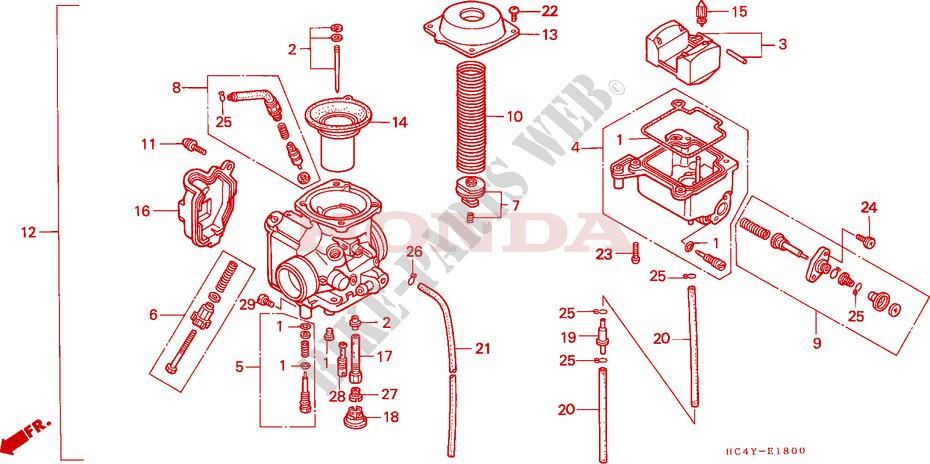 Carburetor Trx 300 Fourtrax 4x4 Trx300fwp 1993 Canada Rhbikepartshonda: 1996 Honda 300 Fourtrax Carburetor Schematic At Elf-jo.com