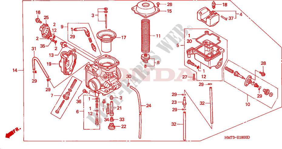 carburetor engine trx400fws 1995 fourtrax 400 atv honda motorcycle rh bike parts honda com