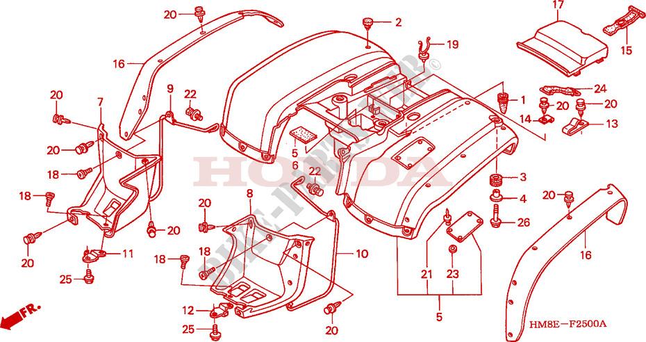 Rear Fender  Trx250tm    U0026 39 02  U0026 39 04  For Honda Fourtrax 250