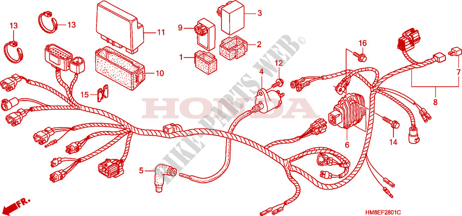 Wire Harness Trx250te For Honda Fourtrax 250 Recon Electric Shift 2003 Honda Motorcycles Atvs Genuine Spare Parts Catalog