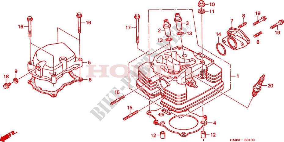 honda atv 250 fourtrax 1998 trx250w engine cylinder head