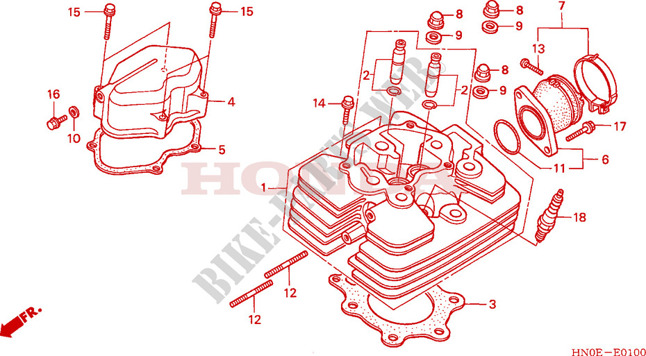 honda atv 450 fourtrax 2003 trx450fm3 engine cylinder head