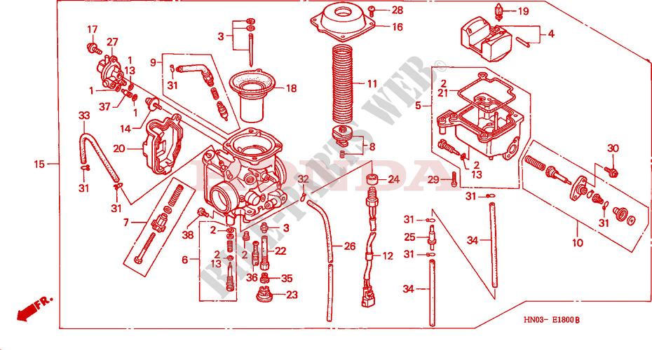 honda atv 450 fourtrax 2000 trx450esy engine carburetor