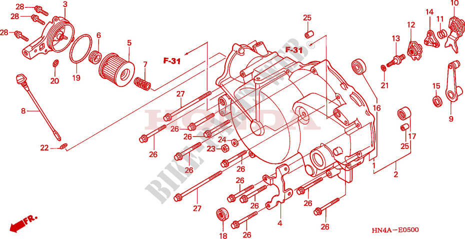 FRONT CRANKCASE COVER (TRX350TM/FM) for Honda FOURTRAX RANCHER 350 4X4 2002  # HONDA Motorcycles & ATVS Genuine Spare Parts CatalogBike Parts-Honda