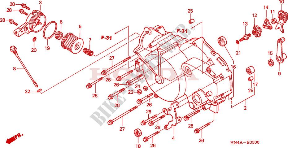 FRONT CRANKCASE COVER (TRX350TM/FM) for Honda FOURTRAX RANCHER 350 4X4 2003  # HONDA Motorcycles & ATVS Genuine Spare Parts Catalog