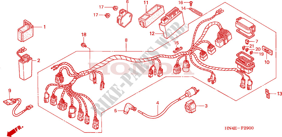 wire harness frame trx350fe2 2002 fourtrax 350 atv honda motorcyclehonda atv 350 fourtrax 2002 trx350fe2 frame wire harness
