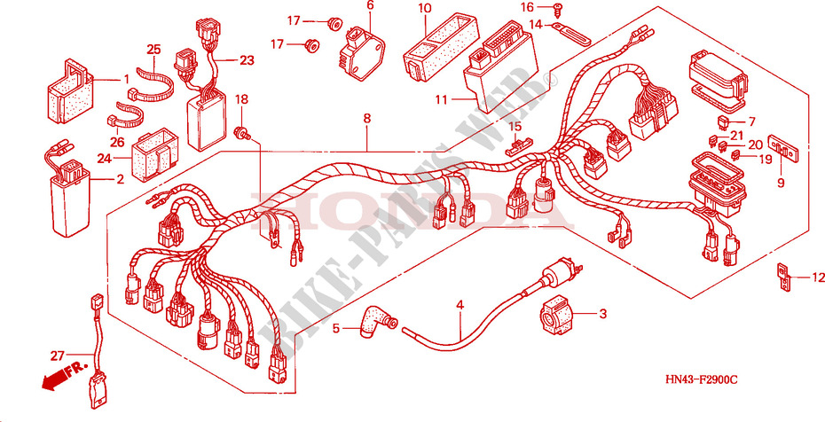 WIRE HARNESS for Honda FOURTRAX RANCHER 350 4X4 Electric Shift 2001 # HONDA  Motorcycles & ATVS Genuine Spare Parts CatalogBike Parts-Honda