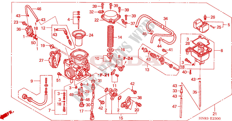 Pleasing Diagram Of Honda Atv Parts 1984 Atc200Es A Carburetor Diagram Wiring Digital Resources Funapmognl