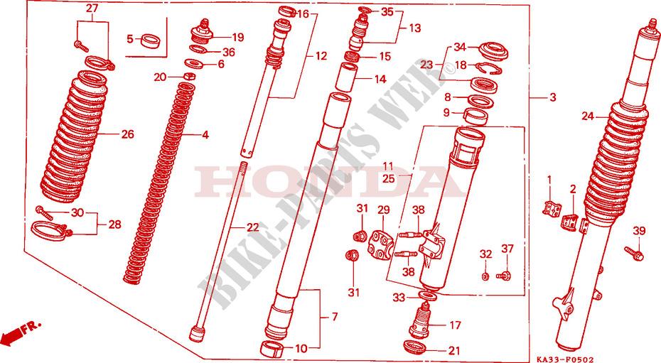 FRONT FORK (3) for Honda 125 CR 1987 # HONDA Motorcycles & ATVS