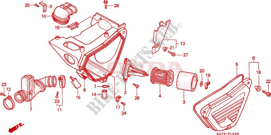 honda moto 125 nx 1989 nx125k frame air cleaner