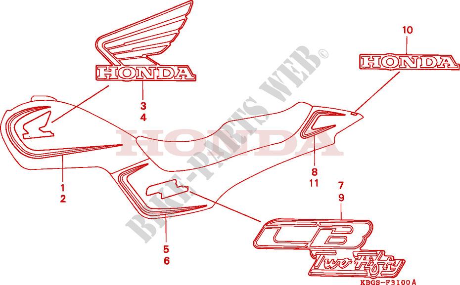 Honda Moto 250 Cb 1994 Cb250r Frame Stripemark 1: Electrical Wire Diagram Honda Ch 250 At Executivepassage.co
