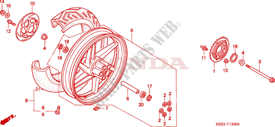 Rear Wheel For Honda Nsr 125 R 1995   Honda Motorcycles
