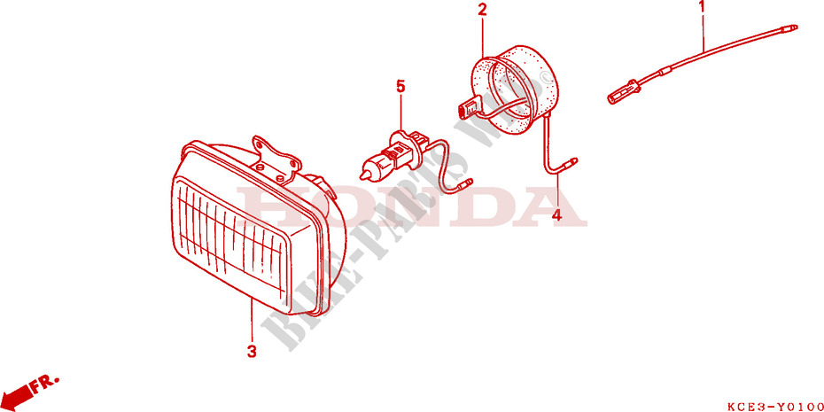 honda moto 250 xr 1997 xr250rv frame headlight unit