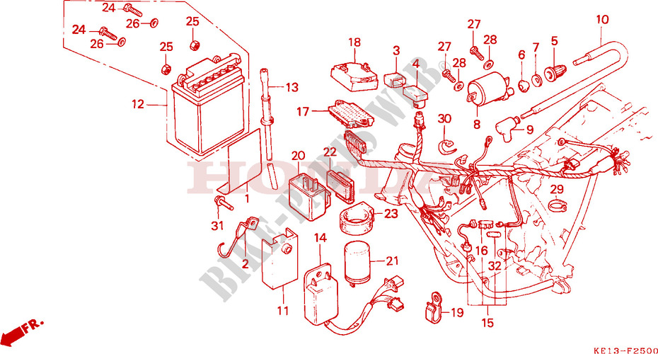 WIRE HARNESS IGNITION COIL BATTERY for Honda MTX 125 1984 ... on