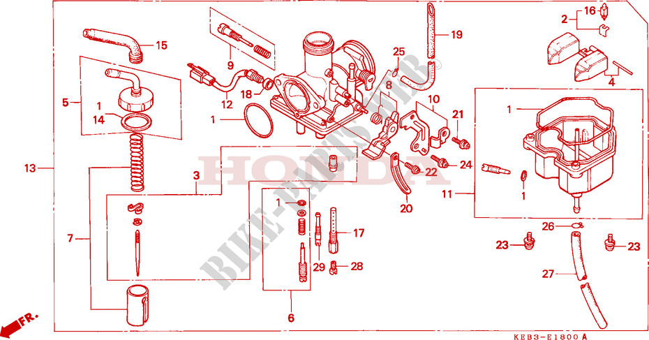 honda moto 125 rebel 1996 ca125t engine carburetor