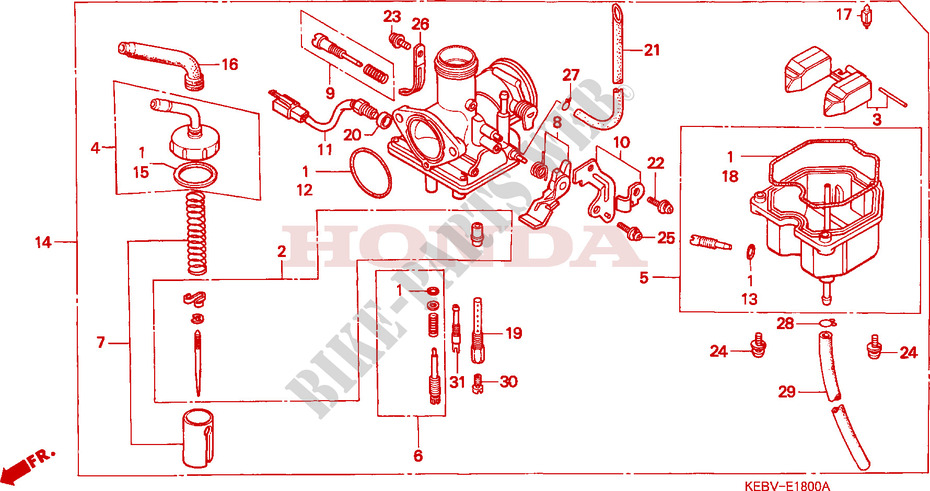 honda moto 125 rebel 1997 ca125v engine carburetor