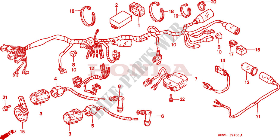 WIRE HARNESS IGNITION COIL Frame CMX250CX 1999 REBEL 250 ... on