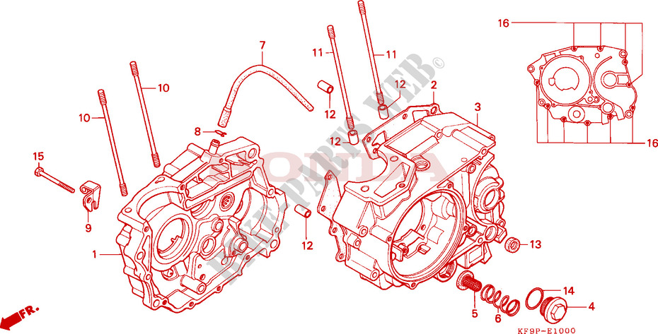 Crankcase For Honda Xls 185 1993 Honda Motorcycles Atvs Genuine Spare Parts Catalog
