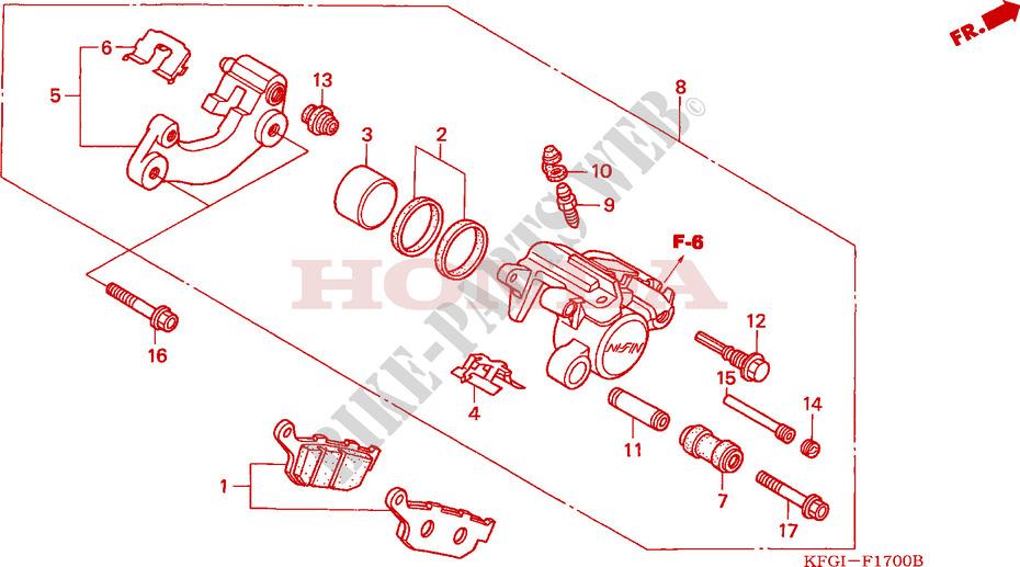honda scooter 250 forsight 2001 fes2501 frame rear brake caliper