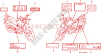 CAUTION LABEL Honda motorcycle microfiche diagram CLR125W 1998 CITY FLY 125 CLR
