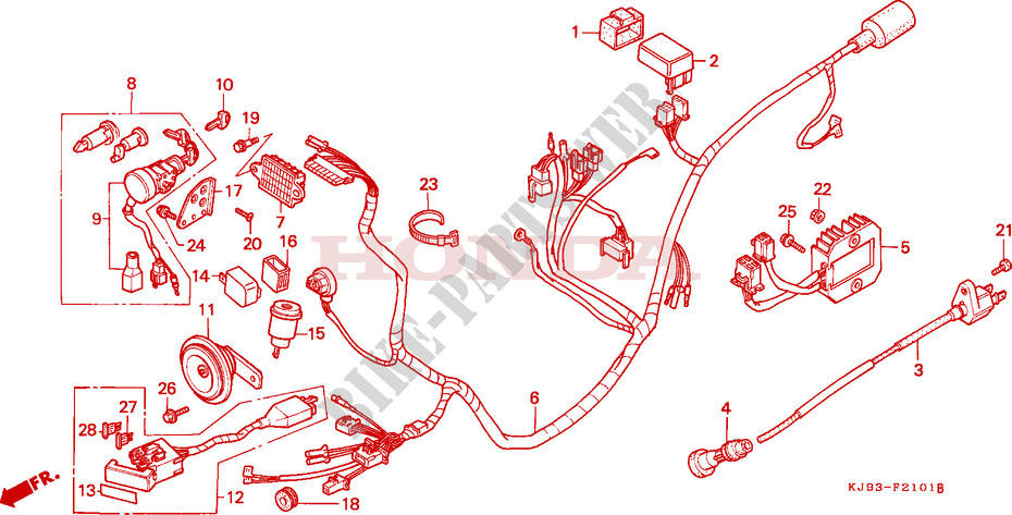 WIRE HARNESS (CH125J/L/M/N/P/R) for Honda CH 125 SPACY 1992 ... on