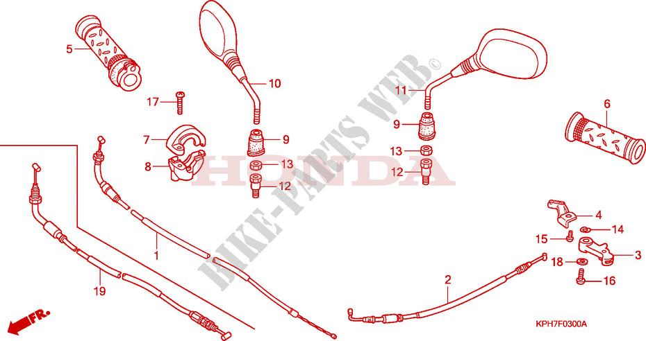Cable Mirror For Honda Innova 125 2005   Honda Motorcycles
